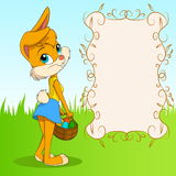 Cute cartoon easter bunny girl with poster stock illustration