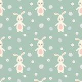 Cute cartoon easter bunny rabbit with eggs seamless pattern background illustration Royalty Free Stock Photography