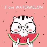 cute cartoon eat watermelon and background seed royalty free illustration
