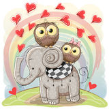 Cute Cartoon Elephant And Two Owls Stock Image