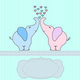 Cute 2 cartoon elephant,  for baby shower twins or wedding, invitation card. Royalty Free Stock Photos