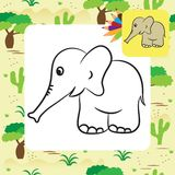 Cute cartoon elephant. Coloring page Stock Photos
