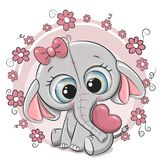 Cute Cartoon Elephant girl with heart and flowers. Greeting card Cute cartoon Elephant girl with heart and flowers stock illustration