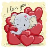 Cute Cartoon Elephant in hearts Royalty Free Stock Photo
