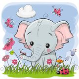 Cute Cartoon Elephant on a meadow. With flowers and butterflies royalty free illustration