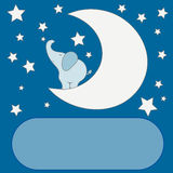 Cute cartoon elephant on the moon in the night sky, stars,  for a baby shower or birthday invitation cards. Stock Photography