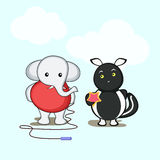 Cute cartoon of an elephant and a squirrel. Royalty Free Stock Photography