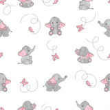 Cute cartoon elephants and butterflies seamless vector pattern. Royalty Free Stock Photo