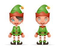 Cute Cartoon Elf Boy And Girl Characters Christmas Santa Teen Icons New Year Holiday 3d Realistic Design Vector Royalty Free Stock Photos