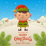 Cute cartoon Elf character Merry Christmas and Happy New Year background. Vector royalty free illustration