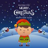 Cute cartoon Elf character Merry Christmas and Happy New Year background. Vector vector illustration