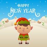 Cute cartoon Elf character Happy New Year background. Cute cartoon Elf character Merry Christmas and Happy New Year background vector royalty free illustration