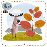 Cute cartoon elk on background landscape forest illustration, vector, isolated vector illustration