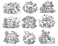 Cute cartoon elven, fairy or gnome houses in the form of pumpkin, tree, teapot, boot, apple, mushroom, stump. Outline vector illustration royalty free illustration