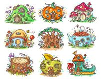 Cute cartoon elven, fairy or gnome houses in the form of pumpkin, tree, teapot, boot, apple, mushroom, stump royalty free stock photo