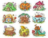 Cute cartoon elven, fairy or gnome houses in the form of pumpkin, tree, teapot, boot, apple, mushroom, stump. Vector illustration stock illustration