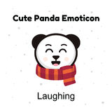 Cute cartoon emoticon baby panda laughing. Emoji character cartoon Panda stickers emoticons with happy emotion. Chinese bear happy laughing emotion. Emoji stock illustration
