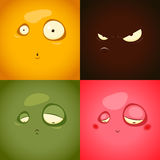 Cute cartoon emotions anger, surprise, sadness, embarrassment - Stock Photography