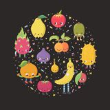Cute cartoon exotic fruit with confetti circle illustration. Cute cartoon exotic fruit circle illustration. Funny characters in nice colors with confetti Stock Image