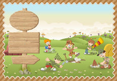 Cute cartoon explorer boys on a green park. Card with a wooden signs. Cute cartoon explorer boys on a green park Vector Illustration