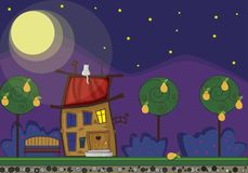 Cute cartoon fabulous house with light in window at night time, Stock Photos