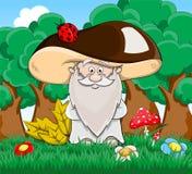 Cute cartoon fabulous old man mushroom Stock Photos