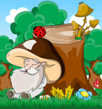 Cute cartoon fabulous sleeping old man mushroom Royalty Free Stock Image