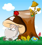 Cute cartoon fabulous sleeping old man mushroom Stock Images