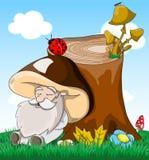 Cute cartoon fabulous sleeping old man mushroom Stock Images