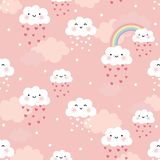 Cute cartoon face cloud seamless pattern vector illustration