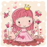 Cute Cartoon fairy tale Princess. Greeting Card with Cute Cartoon fairy tale Princess Royalty Free Stock Photos