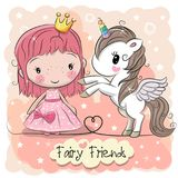 Cute Cartoon fairy tale Princess and Unicorn. Greeting Card with Cute Cartoon fairy tale Princess and Unicorn Stock Images