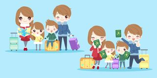Cute cartoon family. On the blue background Stock Photo