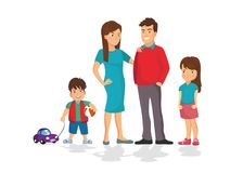 Cute cartoon family in colorful casual clothes. On a white background Royalty Free Stock Photography