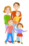 Cute cartoon family in colorful stylish clothes Royalty Free Stock Image