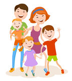Cute cartoon family in colorful stylish clothes Stock Images