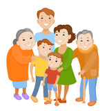 Cute cartoon family in colorful stylish clothes Stock Image