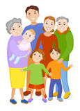 Cute cartoon family in colorful stylish clothes Royalty Free Stock Photo
