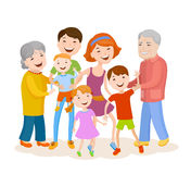 Cute cartoon family in colorful stylish clothes Royalty Free Stock Images