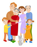 Cute cartoon family in colorful stylish clothes Royalty Free Stock Photos