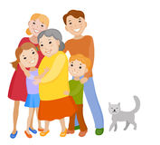 Cute cartoon family in colorful stylish clothes Royalty Free Stock Photography