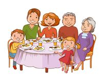 Cute cartoon family dined at the table. Fun colorful graphic style cartoon family dined at the table. Father, mother, grandmother, granddad and children are Stock Photo
