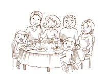 Cute cartoon family dined at the table Stock Image
