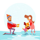 Cute cartoon family on ice rink in winter. Father,mother and little girl skating for her first time. Vector illustration Royalty Free Stock Photos