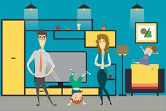 Cute cartoon family - mom, dad,daughter and son in home interior. Vector illustration Stock Photos