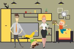 Cute cartoon family - mom, dad,daughter and son in home interior. Vector illustration Royalty Free Stock Photos
