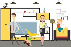 Cute cartoon family - mom, dad,daughter and son in home interior. Vector illustration Royalty Free Stock Images