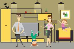 Cute cartoon family - mom, dad,daughter and son in home interior. Vector illustration Stock Images