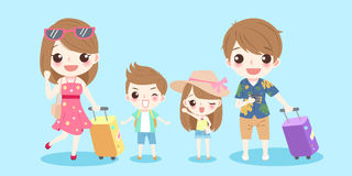 Cute cartoon family. Smile happily on the blue background Royalty Free Stock Image