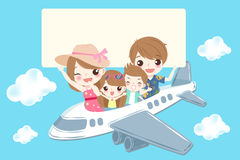 Cute cartoon family. Smile happily on the blue background Royalty Free Stock Photos
